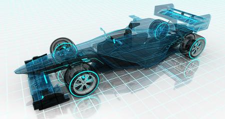 내 자신의 공식 자동차 기술 와이어 프레임 스케치 상단 전면 뷰 모터 스포츠 일러스트 레이 션 디자인