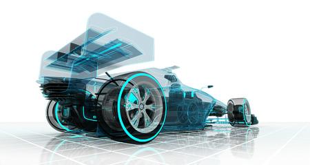 formula car technology wireframe sketch perspective back view motorsport product illustration design of my own