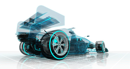 formula car technology wireframe sketch perspective back view motorsport product illustration design of my own