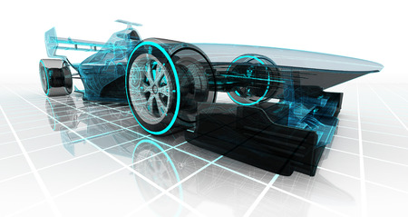 Tecnología de los automóviles fórmula alambre boceto perspectiva frontal de diseño vista automovilismo ilustración producto de mi propia Foto de archivo - 42519376