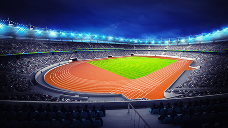 athletics stadium with track and grass field at corner view