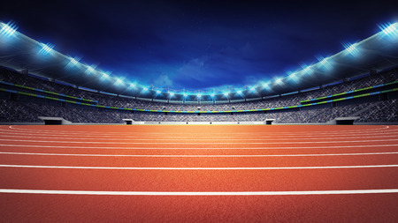 athletics stadium with track at panorama night view