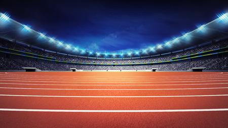 athletics stadium with track at panorama night view