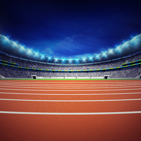 athletics track: athletics stadium with track at general front night view Stock Photo