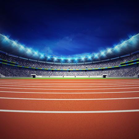 pista de atletismo: estadio de atletismo con la pista en la opinión general de la noche frente