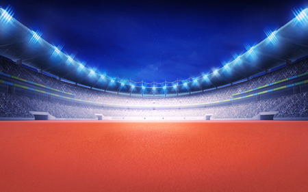 athletics track: athletics stadium with tartan surface at panorama night view sport theme render illustration background