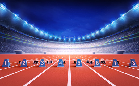 race start: athletics stadium with race track with starting blocks sport theme render illustration background