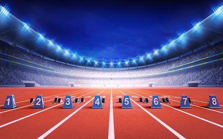 stade d'athlétisme avec une piste de course avec départ thème du sport des blocs rendre illustration de fond