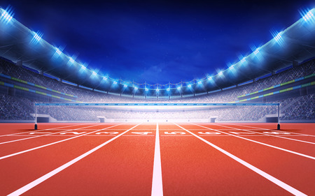 run way: athletics stadium with race track finish view sport theme render illustration background Stock Photo