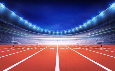 stade d'athlétisme avec une piste de course vue de finition thème du sport rendent illustration de fond Banque d'images