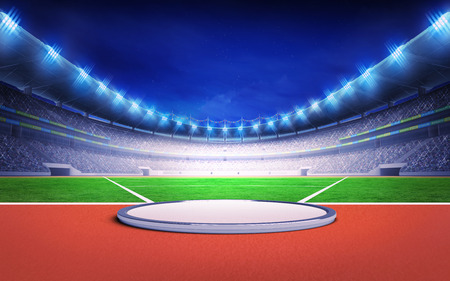discus: athletics stadium with shot put, discus and hammer throw sport theme render illustration background Stock Photo