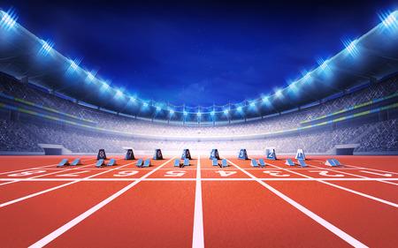 전면보기 스포츠 테마 그림 배경 렌더링 시작 블록과 레이스 트랙 육상 경기장