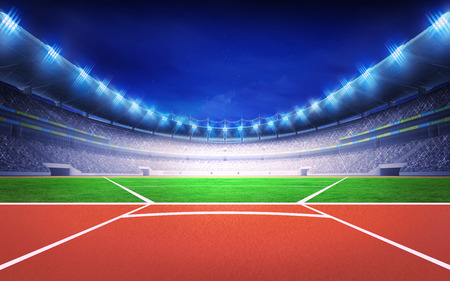 athletics stadium with javelin throw post sport theme render illustration background Stock Photo