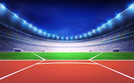 athletics stadium with javelin throw post sport theme render illustration background Stock Photo