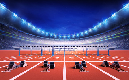 race start: athletics stadium with race track with starting blocks and hurdles sport theme render illustration background