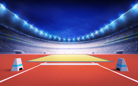 long night: athletics stadium with long and triple jump post sport theme render illustration background Stock Photo