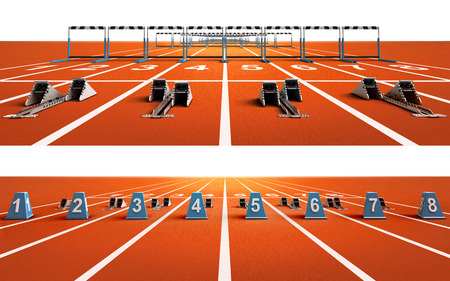 two isolated running tracks with blocks and hurdles sport theme render illustration background