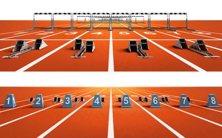 dos pistas de atletismo aisladas con bloques y obstáculos deporte tema render ilustración de fondo