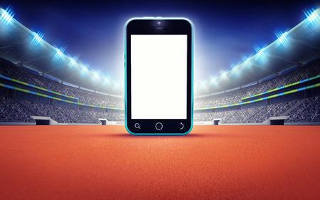 athletics: athletics stadium with empty cell phone screen sport theme render illustration background