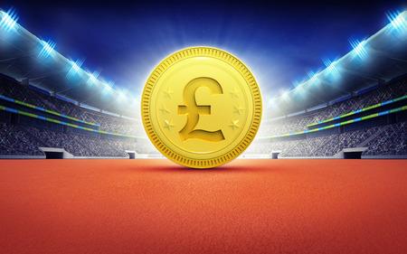 pound coin: athletics stadium with golden Pound coin sport theme render illustration background Stock Photo