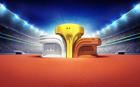 atletismo: estadio de atletismo con el ganador del podio deporte tema procesar ilustraci�n de fondo Foto de archivo