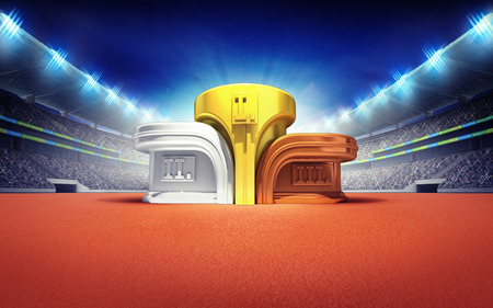 athletics stadium with winner podium sport theme render illustration background