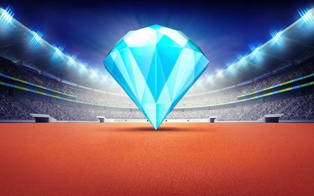 athletics: athletics stadium with blue pure diamond sport theme render illustration background Stock Photo