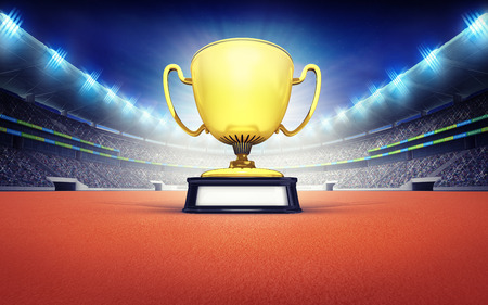 victorious: athletics stadium with golden winner cup sport theme render illustration background