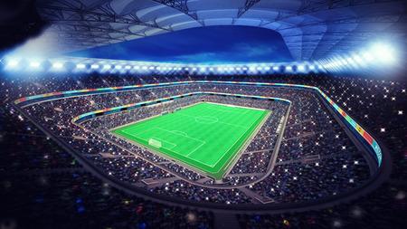 campeonato de futbol: estadio de fútbol iluminado con los aficionados en las gradas deportivo partido ilustración digital de mi propio diseño Foto de archivo