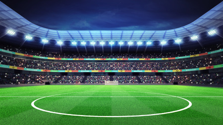 스탠드에서 팬들과 함께 조명이 축구 경기장 스포츠 일치하는 배경 디지털 그림 내 자신의 디자인 스톡 콘텐츠