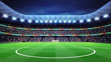 stadio di calcio illuminato con tifosi sugli spalti dello sport partita sfondo illustrazione digitale mio disegno