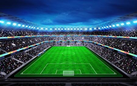 スタンド スポーツのファンとサッカー スタジアムの上部のビュー背景デジタル イラスト私自身の設計に一致させる