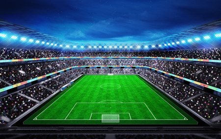 upper view on football stadium with fans in the stands sport match background digital illustration my own design