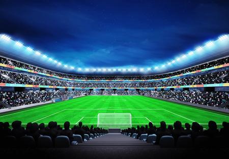 스탠드에서 팬들과 축구 경기장에서 볼 스포츠 일치하는 배경 디지털 그림 내 자신의 디자인 스톡 콘텐츠