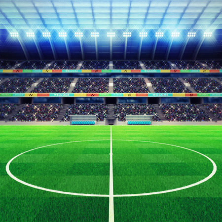 lighted football stadium middle with fans in the stands sport match background digital illustration my own design