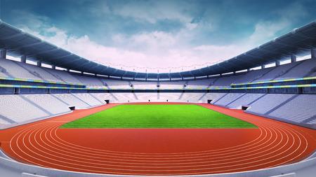 전면 일보기 스포츠 테마 디지털 그림 배경에서 트랙과 잔디 필드 빈 육상 경기장