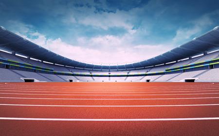 パノラマ日ビュー スポーツ テーマ デジタル イラストレーションの背景でトラックを空の陸上競技場