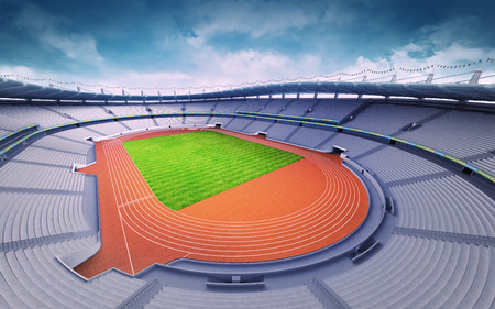 athletics track: empty athletics stadium with track and grass field at upper day view sport theme digital illustration background