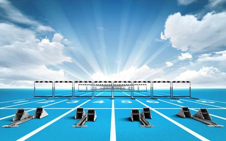 Rennstrecke mit Startblöcken und Hürden Außensport Thema Render-Abbildung Hintergrund