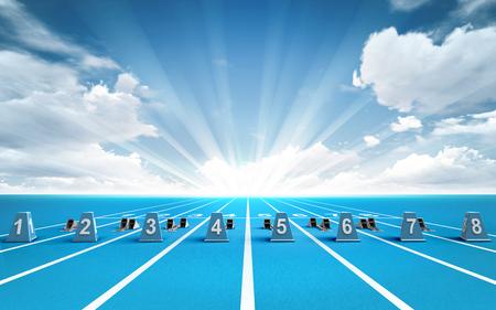 piste de course avec des blocs de départ en dehors thème du sport rendent illustration de fond