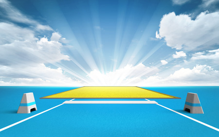 ricochet: long and triple jump post outside sport theme render illustration background