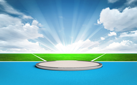 put: shot put, discus and hammer throw post outside sport theme render illustration background Stock Photo