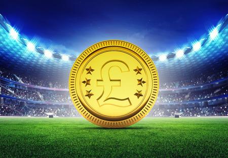 pound coin: football stadium with golden Pound coin  on grass field digital sport illustration