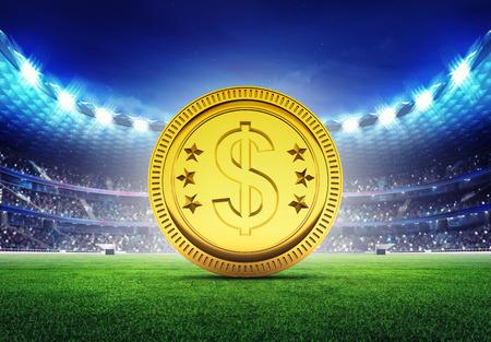 golden field: football stadium with golden Dollar coin  on grass field digital sport illustration