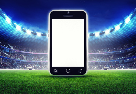 football stadium with empty cell phone display on grass field digital sport illustration