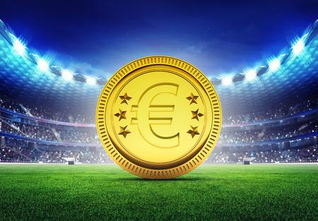 golden field: football stadium with golden Euro coin on grass field digital sport illustration
