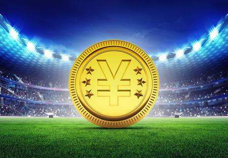 football stadium: football stadium with golden Yuan coin on grass field digital sport illustration Stock Photo
