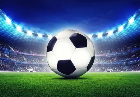 football stadium: football stadium with ball front on grass field digital sport illustration