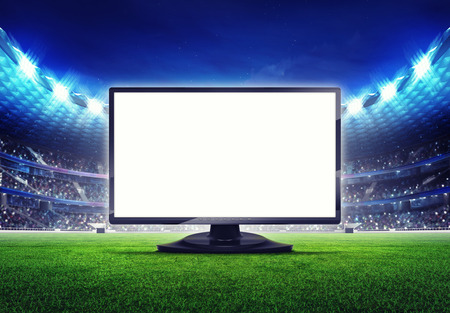 football stadium with empty tv screen frame on grass field digital sport illustration