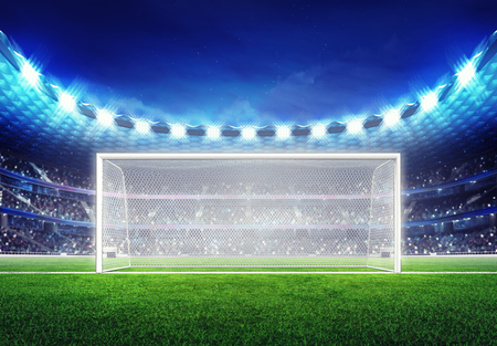 soccer game: football stadium with empty goal on grass field digital sport illustration Stock Photo